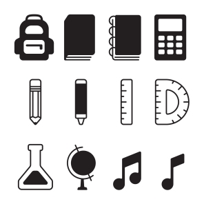 Custom icon set for the design